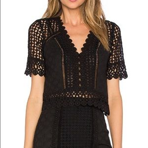 Rebecca Taylor Short Sleeve Lace Crochet Crop Top